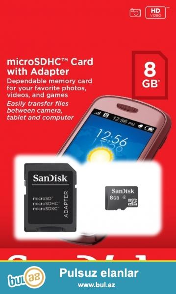 Original mikro kart 8gb (yeni) <br /> <br /> Foto aparat ve telefonlar uchun ...