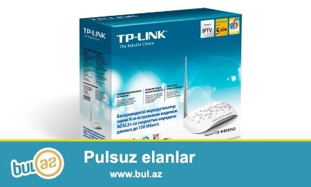 "TP-link 8951..  4 port Wi-Fi modem... 150mb (yeni)<br /> <br /> <br /> Sheher ichi chatdirilma + 2azn<br /> <br /> Rayonlarada gonderilir<br /> <br /> Elave elanlarimizi gormek uchun ""Istifadecinin butun elanlari"" -na baxin<br /> <br /> Whatsapp: 050 227 27 55<br /> <br /> Skype: toptan..."
