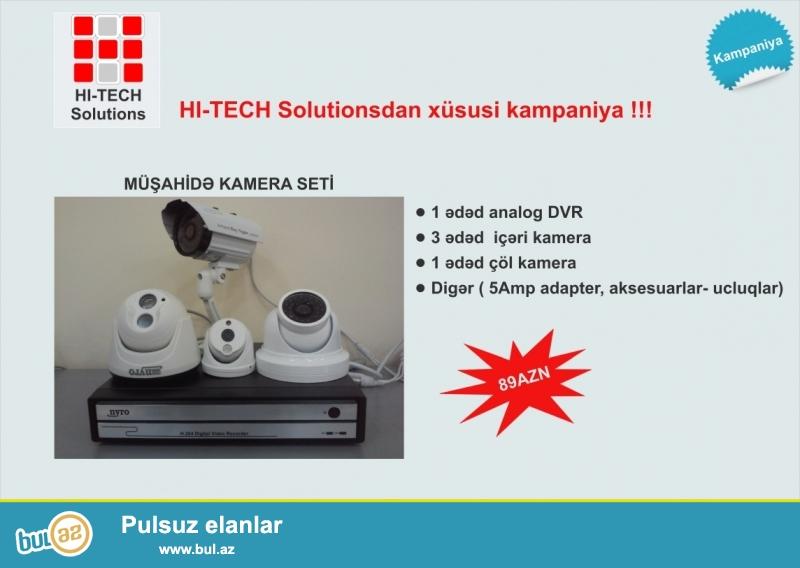 KAMPANİYA!!!<br /> Analog kamera seti- 89azn!<br /> Setə daxildir- 1ədəd analog dvr, 3ədəd içəri kamera, 1ədəd çöl kamera və digər aksesuarlar...