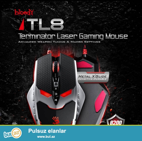 Terminator Laser Gaming Mouse A4tech bloody tl8<br...
