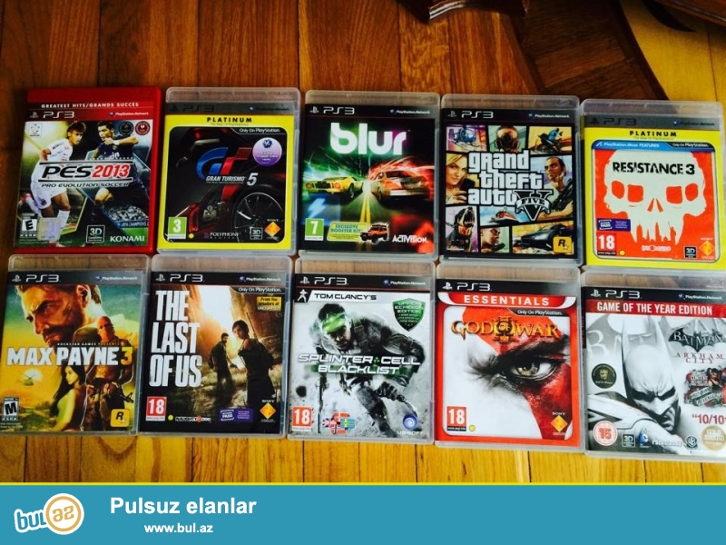 Pes 2013(9man),Batman(20 man),Gran Turismo 5(12 man),Blur(20man),Gta 5(25man),The Last Of Us(20man),Max Payne 3(15man),Splinter Cell Blacklist(20man,Resistance 3(15man),God of War 3(15man),diskler ayri ayri satilir