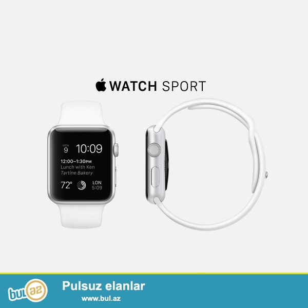 Apple Watch Sport - 38mm Silver Aluminum Case with White/blue Sport Band.<br />