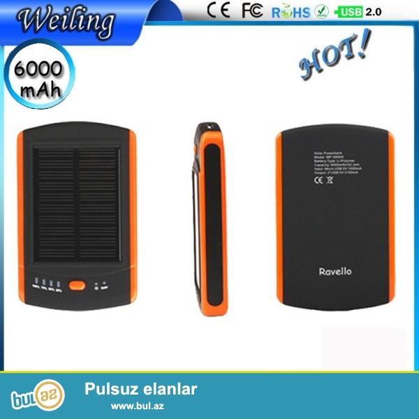 YENI<br /> Növ: Emergency / Daşınabilən<br /> İstifadə edilə bilər: kamera, iPad, və Mobil telefonlarda<br /> Tutumu (mAh): 5001-6000<br /> Ölçü: 110 x 57 x 15mm<br /> Model nömrəsi: USB / DC 5V / Computure<br /> Rəngi: sarı + Qara<br /> Günəş paneli: 1...