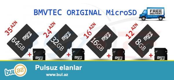 Micro SD yaddaş kartları-8 gb, 16gb, 32gb, 64gb<br /> <br /> 8 gb(+card reader) -12 azn<br /> 16 gb(+card reader) - 16 azn<br /> 32 gb(+card reader) - 24azn<br /> 64 gb(+card reader) - 35azn<br /> <br /> ƏLAVƏ MƏLUMAT: WWW...