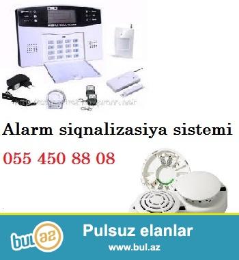 Alarm – siqnalizasiya tehlukesizlik sistemi<br /> <br /> Alarm sistemi – ogurluq, qeyri-qanuni mudaxile ucun nezerde tutulmus tehlukesizlik avadanligi<br /> Zeng, sms gonderme xidmeti, sirena<br /> Satis ve qurasdirma xidmeti<br /> Musahide ve tehlukesizlik sistemleri - turniket, slaqbaum, domofon, alarm – siqnalizasiya, biometrika, kartli kecid, barmaq izi, uzle tanima sistemi, ID plastik kart, plastik kart uzerinde cap isleri ve s...