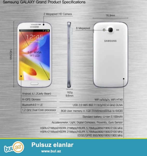 Şəbəkə: 2G – GSM 850 / 900 / 1800 / 1900 , 3G – HSDPA 850 / 1900 / 2100, HSDPA 900 / 1900 / 2100Platforma: Android 4...
