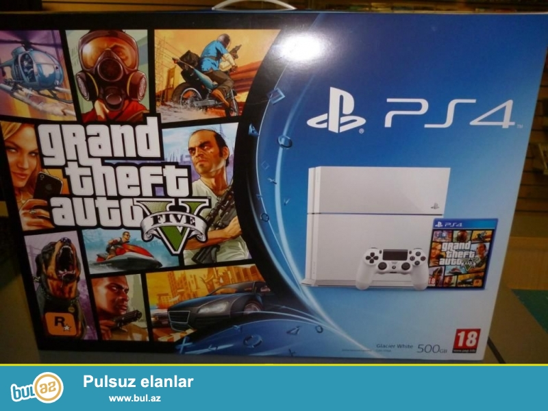Playstation 4 ag rengde , 500 gb, Rosiyadan zakazla getirilib, Watch dogs oyunuda hediye verirem...