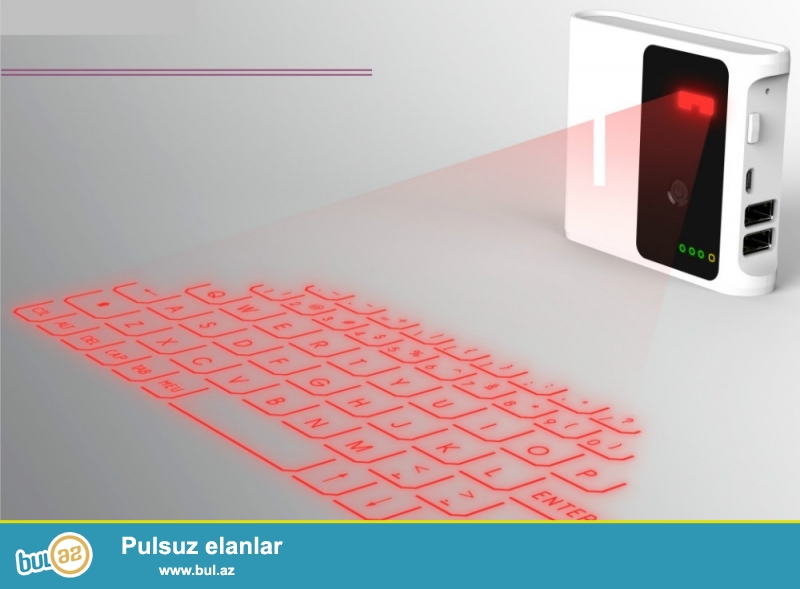 YENI LAZER KLAVIATURA VƏ 7800MAH POWERBANK.ÇATDIRILMA PULSUZ<br /> Kompakt və daşınabilən<br /> English QWERTY keyboard<br /> Blutuz və usb ilə qoşulur<br /> Zaryatka yigan litum batareya ilə təchiz olunub<br /> Bu sistemlərdə rahat istifadə oluna bilər: Windows XP/VISTA/7/8, Windows Phone 7, IOS4/5/6(iPhone and iPad) Android 3...