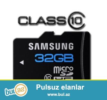 Orijinal 32GB Samsung Micro SD kart.CLASS 10 Başka micro kartlardan daha sürətli...