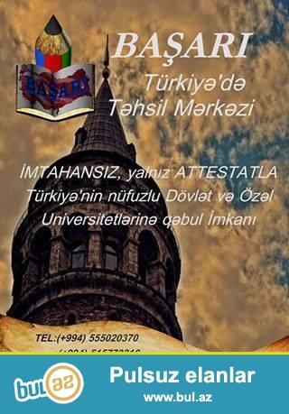 Imtahan vermeden,yalnız Attestatla Türkiyenin dovlet ve özel universitetlerinde oxumaq isteyirsinizse bize muraciet edin.
