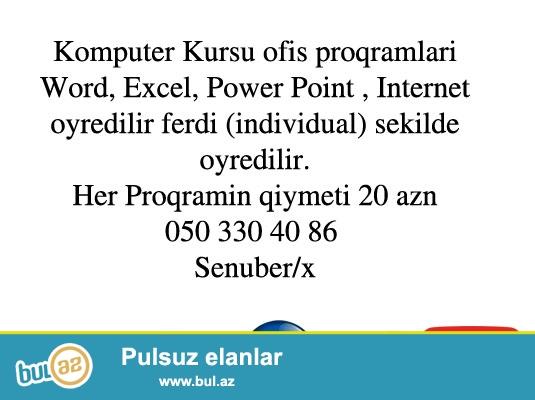 Komputer Kursu ferdi sekilde individual  20 AZN 0503304086  Susen/x