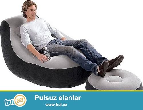 Надувное кресло с пуфиком Intex 68564 <br /> Имеет по сравнению с прежними моделями более удобные размеры и наклон...