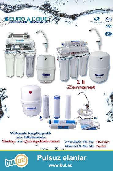 Avropa istehsali olan EURO ACQUA su filtrleri qurasdirilma catdirilma ve 1 il zemanet cemi 450 AZN...