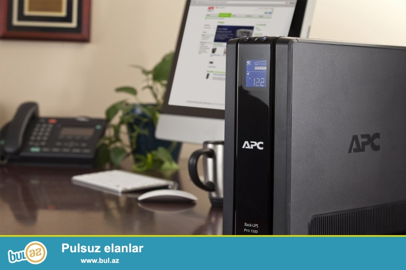 UPS Pro 1500 90 deqiqe ve daha artiq enerji saxlama,(APC Back-UPS Pro,865 Watts /1500 VA,Input 230V /Output 230V, Interface Port Optional Simple Signalling RS232 cable, USB, Extended runtime model)...