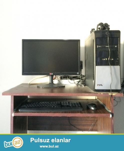 Core i3 3.4GHz (4CPU)\<br /> Gigabyte H61M<br /> DDR3 4GB<br /> HDD 1 TB Toshiba<br /> Geforce GT630<br /> LG 22 ekran (22M3517)<br /> <br /> Ustunde Kompyuter stolu, qulaqciq ve kamerada verilir...