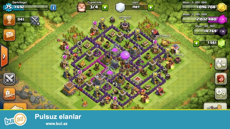 Clash of clans satılır./TH8,75 level,accountda 15$ miqdarında Gem var...