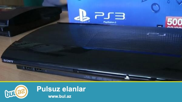 Oyun kompyuteri PLAYSTATİON-3 500GB (karobkada) + HDMİ kabel+original Dualshok pult+3 oyun diski eyni zamanda yaddaşında GTA oyunu yazılıb...