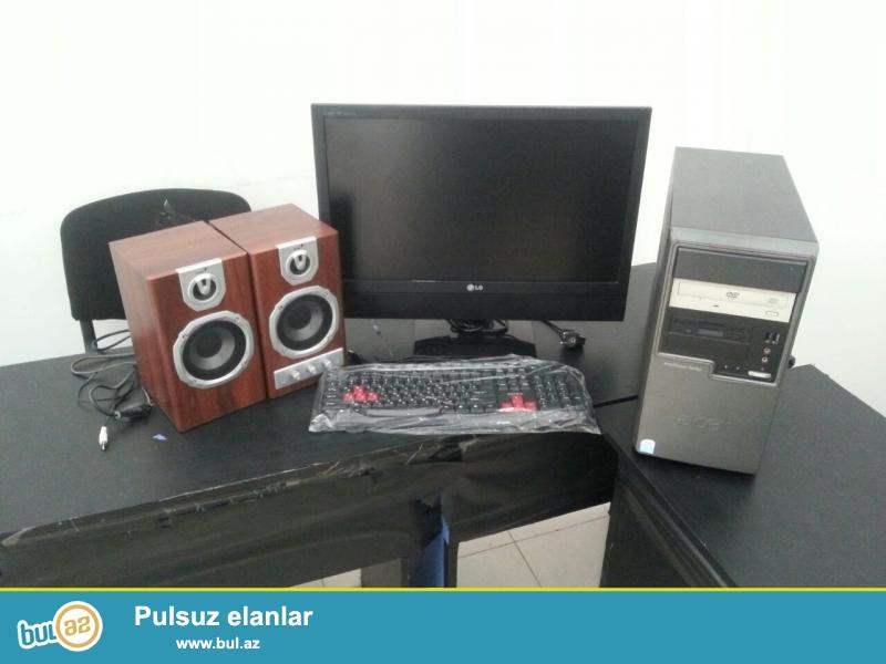 """Təcili əla vəziyyətdə stolüstü kompyuter satılır!+23""""Ekran LG LCD-TV monitor və usulitelli genius kalonkalarla bir yerdə..."""