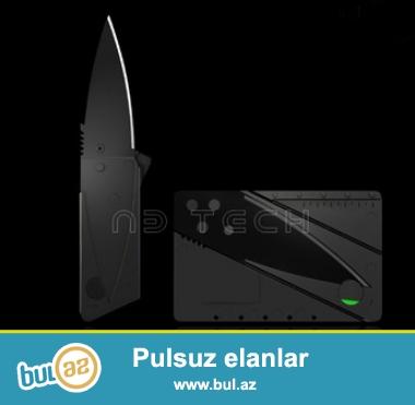 Plastik kart formasında bıçaq<br /> Material: paslanmaz polad<br /> Uzunluq: 87 mm<br /> En: 55 mm<br /> Qalınlıq: 2 mm<br /> Ümumi uzunluq: 14...