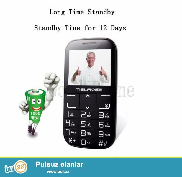 Yeni 2 Nomreli 12gun zaryatka saxlayan shunursuz zaryatka yigan telefon<br /> Melrose I310+Wireless charger<br /> Xüsusiyyətləri:<br /> 100% Yeni Brand<br /> Böyuk ekran,Böyük düyməli,Güçlü səs<br /> Şunursuz zaryatka<br /> GSM 2 nömrəli 2 band<br /> 3 rəng var seçim üçün(Qara/Ağ/Qırmızı)  <br /> Rus ingilis və...