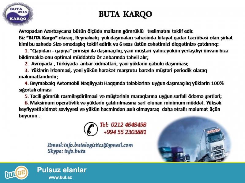 Avropadan Azərbaycana bütün ölçüdə malların gömrüklü   təslimatını təklif edir...