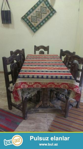 Kafe ve Restoran ucun Taxtadan hazirlanmis stol stul desti satilir...