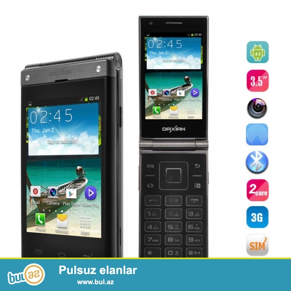 Yeni.Chatdirilma pulsuz<br /> 2 Ekranlı Dual Core 5MP 1Gb/4GB Android OTG GPS 3G  Telefon...