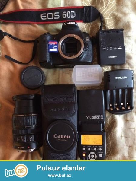 Canon 60 D Lens 28-135 16 GB kart Varta batareklarai adapdirlari<br /> hec bir problemi yoxdu tekce spiwkanin lampasi yanib.