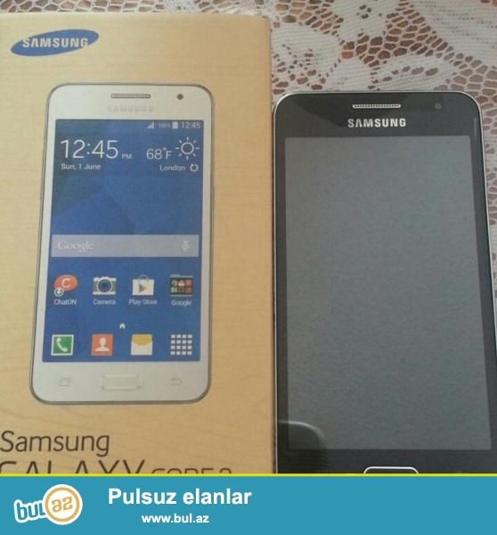 Samsung Core 2 ..Cemi bir hefte islenib..karopkasi,adaptri,nauwniki,uzune plyonka arxasinda kabrosu var...