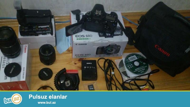 canon 60D 18+55 ve 55+250 lensler. 32kart, grip, blenda, cantasi. Hamsinin qutusu ve senedleri kabelleri var...