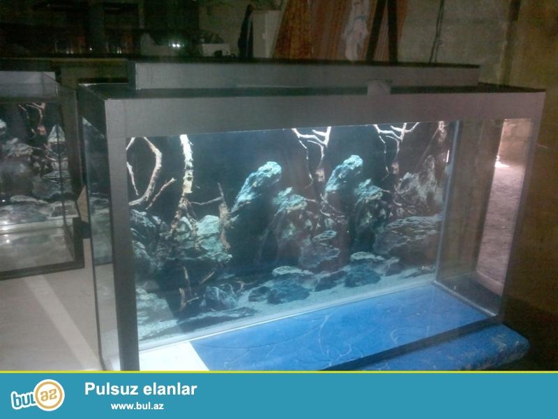 akvarium 150 litr uzunu 100 sm eni 30sm hun 50 sm qapaqli teze veziyyetde