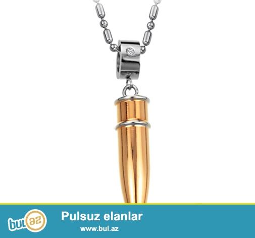 Paslanmaz polad mərmi kulonlar + sep <br /> Metal rəngləri: Qızıl<br /> Sep uzunluğu: 55 cm