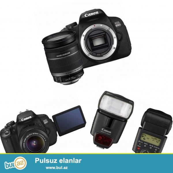 Canon 650D - 18-55mm, əlavə 18-200mm obyektiv + Blenda və 430EX II flash...
