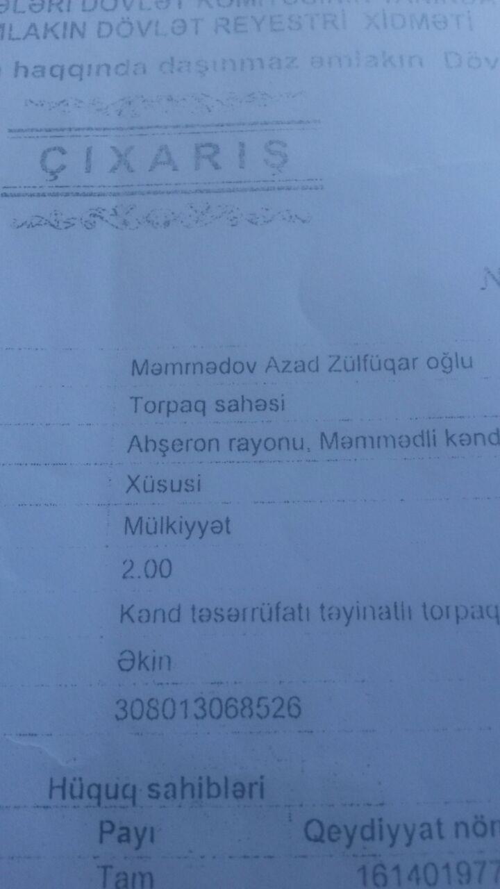 mehemmedi kendinin girisinde yola yaxin kupcali torpaq satilir/ 3-5-7-10-20-30 sot  1 sotu--4000 azn marsrutdan 200 metr mesafede