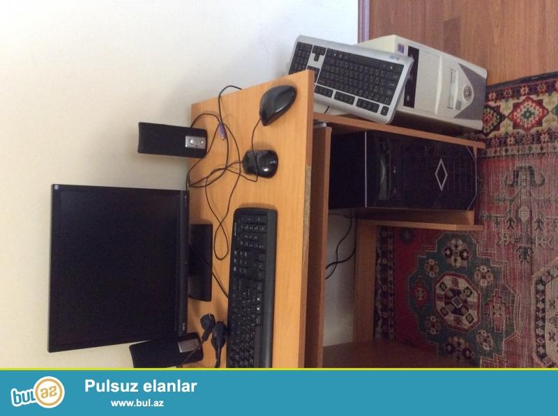 <br /> 2mouse,2klaviatura,monitor,2kamera,kalonkalar,2 sistem bloku, +stol,stul yaxsi veziyyetde...