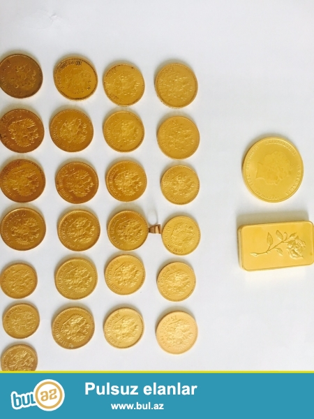 Mende qızıl dan rus pulları var 1897 ilden 1911 e qeder hamsı qızıldır <br />\r\nElaqe nömrem 00995598878848<br />\r\n00995574001107