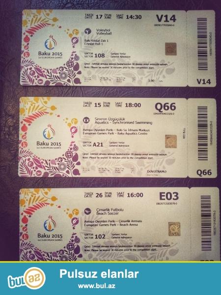 Kolleksiyonerlər üçün Avropa oyunlarının 3 ayrı idman növünün biletləri satılır...
