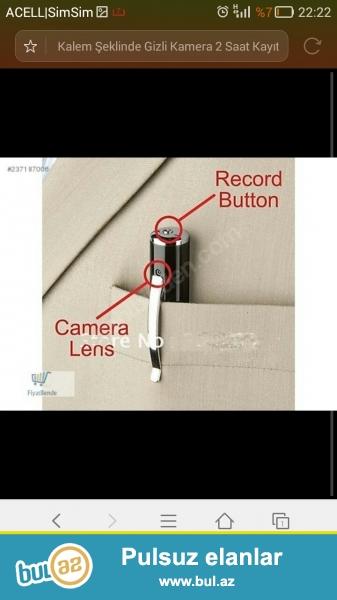 Gizli kamera qelem goruntu ve ses zaps 4 gb kart hediyeli