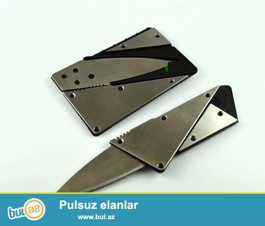 Plastik kart formasında metal bıçaq <br /> Material: paslanmaz polad bıçaq+plastik+polad üzlük<br /> Uzunluq: 87 mm <br /> En: 55 mm <br /> Qalınlıq: 2 mm <br /> Ümumi uzunluq: 14...