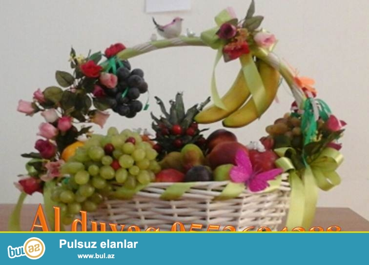 Zovqunuze uygun istenilen olcude ferqli  aksesuarlarla meyve sebetlerinin bezedilmesi ve elde edilmesi ucun   Al duvaq studiosuna muraciet edin...