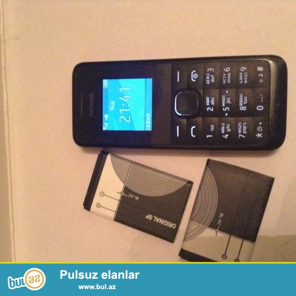Nokia 105<br /> Hec bir problemi yoxdi<br /> Adapteri yoxdi evezinde 2 original batareya verilir<br /> Qiymetde güzewt yoxdu