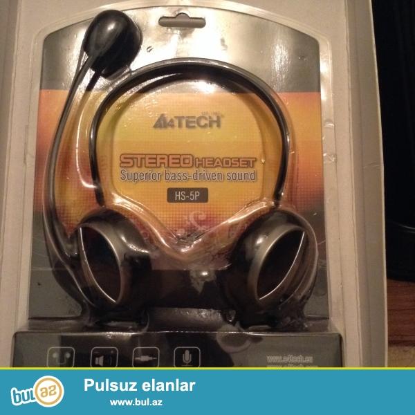 A4tech qulaqciq<br /> Mikrafonu da var<br /> Skype daniwmaq cun<br /> Teze qutuda originaldi stereo ses