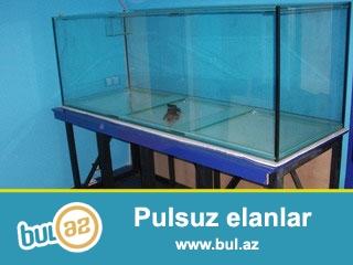 Akvarium yenidir 12mm lik şüşədən uzunluqu 150sm hündürü 60sm eni 48sm...