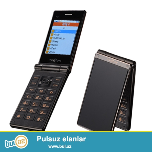 Yeni.Taç Ekran.Çatdırılma pulsuz<br /> _____________<br /> Telefon qeydiyyat olunub: Bəli<br /> Ekran: Rəngli<br /> Design: Flip<br /> CPU: Single Core<br /> Cellular: GSM<br /> Screen tip Touch: Resistive ekran<br /> Ekran ölçüsü: 2...