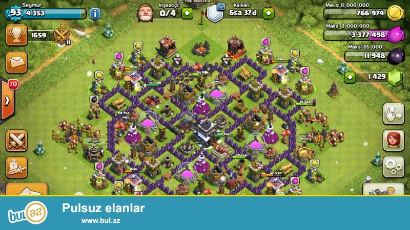 Clash of clans 93 seviyyedi 1429 kristal var