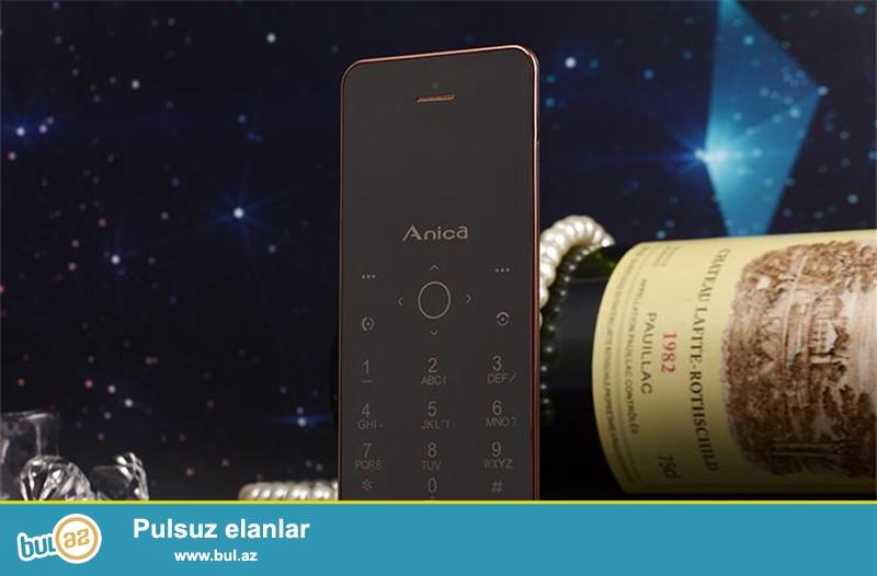 Yeni.Çatdırılma pulsuz<br /> <br /> Anica A6 Blutuzlu ultra nazik telefon<br /> <br /> Model:A6<br /> <br /> Blutuz:Var<br /> <br /> Nömrə sayı: 1<br /> <br /> Rənglər:Qara qızıl, Qızılgül Qızılı, Qızılı Rəng Boz qızılın<br /> <br /> Material:plastik və metal<br /> <br /> Audio:MP3/WAV/AMR/AWB<br /> <br /> Video:3gp/mpeg4<br /> <br /> Şəkil formatı:JPEG/BMP/GIF/PNG/GIF<br /> <br /> E-book format:TXT/CHM/DOC/HTML<br /> <br /> Fm radio:Var<br /> <br /> Mobil internet:Wap/Gprs<br /> <br /> Dillər:English,Russian, Spanish,Portuguese,French, Italian, Dutch, German,<br /> <br /> Sms və MMS:VAR<br /> <br /> Aksesuarlar:Usb kabel Nauşnik