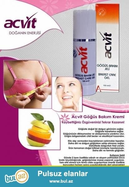 ACVİT Breast care  jel – sinə dolğunlaşdırıcı və dikləşdirici 100 ML. - PP-Box & Polifenol Texnologiya qarışığıdır...