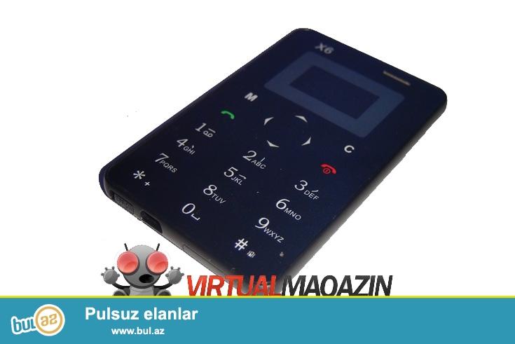 Yeni.Çatdırılma pulsuz<br /> Qeydiyyat olunub<br /> Dünyanın En ultranazik ve balaca telefonu 2016 istehsalı<br /> X6 Black Edition<br /> <br /> <br />     Xüsusiyyətləri<br />     FM Radio,MP3 Player,Bluetooth,Message var<br />     Batareya növü:Çıxarılabilən<br />     Batareya Tutumu(mAh):320mAh<br />     Dillər:English,Russian,German,French,Spanish,Portuguese,Italian,Arabic,Hungary,Dutch,Thai,Vietnamese<br />