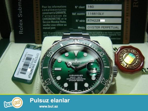 Sevgililer günü ile baqlı endirimler başladı.Rolex Submariner Green:Kvars mexanizm,paslanmayan polatdan korpus ve qolbaq,ay göstericisi,suya ve zerbeye davamlı,fosforlu eqreblerle...