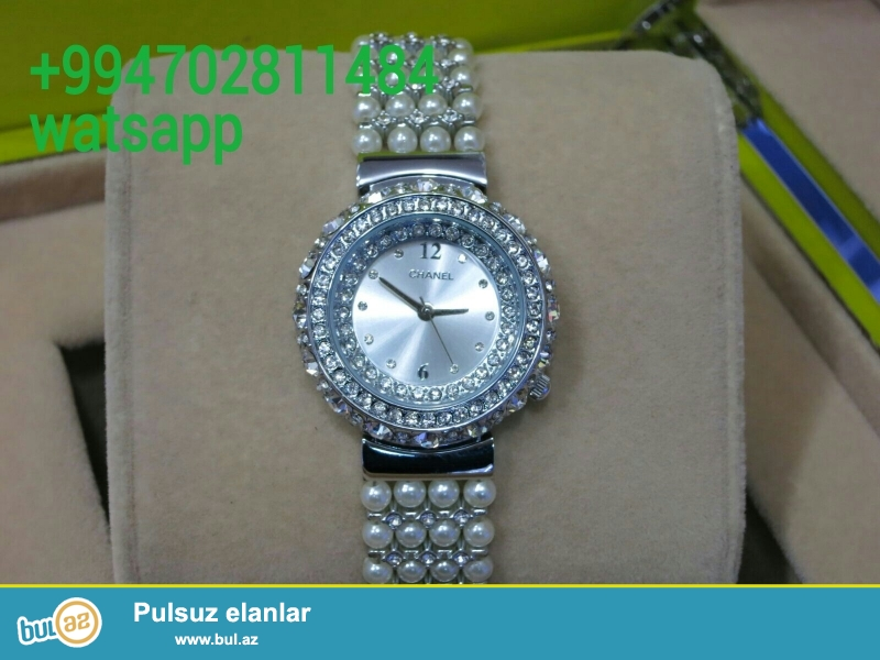 Chanel qadin saati karopka ve hediyye paketi ile birlikde
